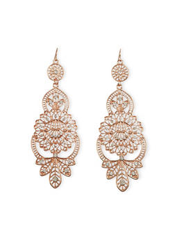 Filigree Chandelier Earrings with Crystals - 1122070434746