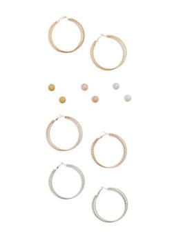 Set of 6 Hoop and Stud Earrings - 1122071432102