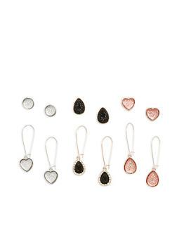 Set of 6 Rhinestone Drop and Stud Earrings - 1122071432140