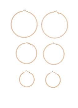 Textured Multi Size Hoop Earrings Trio - 1122072691426