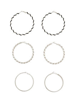 Set of 3 Textured Hoop Earrings - 1122072694918