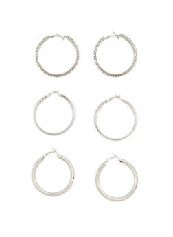 Rhinestone Glitter Hoop Earrings Trio - 1122072694919