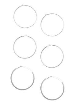 Set of 3 Large Hoop Earrings - 1122072695803