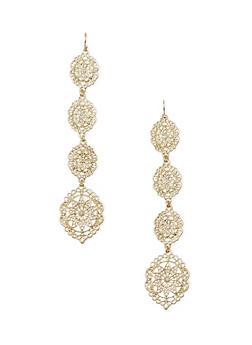 Duster Earrings with Filigree Design - 1122072696457