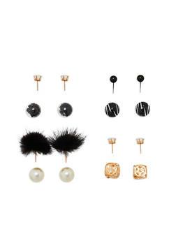 Faux Pearl Pom Pom Reversible Earrings - 1122072697205