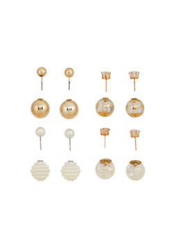 Faux Pearl Ball Reversible Earrings - 1122072697206