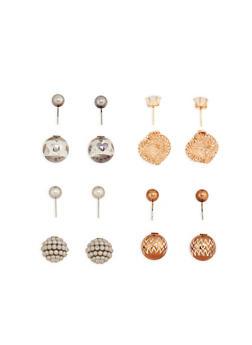 Metallic Cube Ball Reversible Earrings - 1122072697207