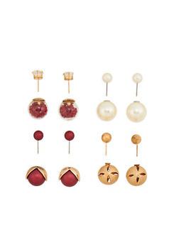 Metallic Faux Pearl Reversible Earrings - 1122072697208