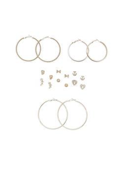 Set of 9 Rhinestone Stud and Hoop Earrings - 1122072697370