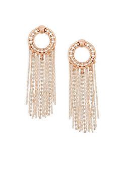 Circular Rhinestone and Fringe Drop Earrings - 1122072697916