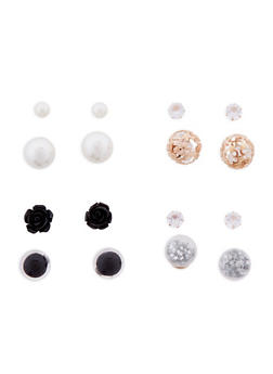 Set of 4 Metallic Reversible Earrings - 1122072698010