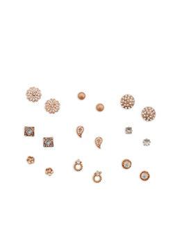 Set of 9 Assorted Stud Earrings - 1122072698326