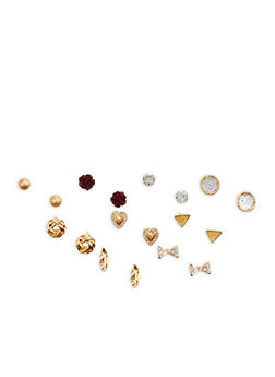 Set of 9 Rhinestone Metallic Stud Earrings - 1122072698328