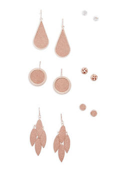 Set of 3 Stud and 3 Drop Glitter Earrings - 1122072698731