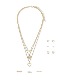 Layered Necklace with Stud Earrings and Rings Set - 1122073284534