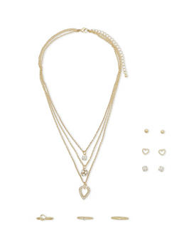 Layered Necklace with Stud Earrings and Rings Set - 1122073284535