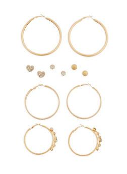 Set of 9 Rhinestone Accented Stud and Hoop Earrings - 1122073848254