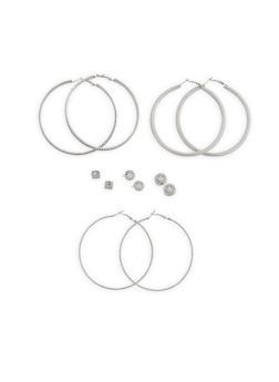 Set of 6 Hoop and Stud Earrings - 1122073848280