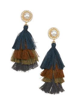 Faux Pearl Tassel Earrings - 1122074140801