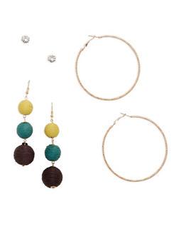 Linear Threaded Ball Earrings Set - 1122074146116