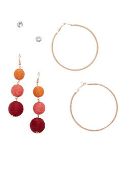 Linear Threaded Ball Earrings Set - 1122074146116