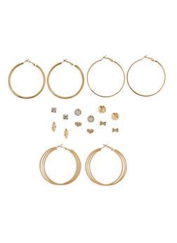 Glitter Rhinestone Stud and Hoop Earrings Set - 1122074146123
