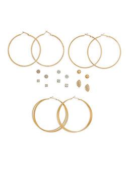 Textured Hoop and Stud Earrings - 1122074146126