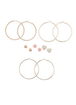 Textured Hoop and Flower Stud Earrings - 1122074146131