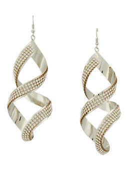 Rhinestone Studded Twisted Drop Earrings - 1122074146150