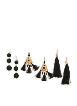 Tassel and Beaded Earrings Trio - 1122074170172