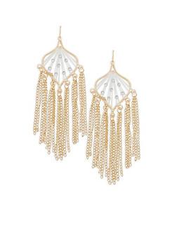 Rhinestone Metallic Fringe Earrings - 1122074171724