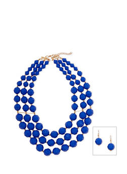Beaded Drop Earrings and Tiered Necklace Set - 1123003201041