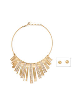 Collar Necklace with Crystal Accents and Stud Earrings - 1123003201344