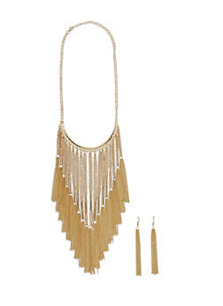 Metallic Chain Fringe Necklace with Matching Earrings - 1123003201508