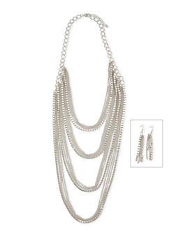 Layered Chain Necklace with Drop Earrings Set - 1123003204566