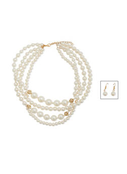 Tiered Faux Pearl Necklace with Faux Pearl Earrings - 1123003205001