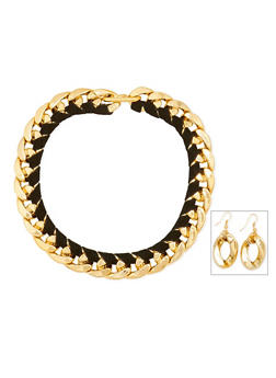 Wrapped Chain Necklace with Earrings - 1123003205180