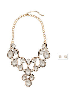 Crystal Bib Necklace and Stud Earrings Set - 1123003206031