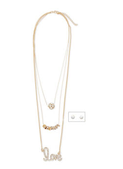 Tiered Crystal Necklace and Earrings Set - 1123003206101