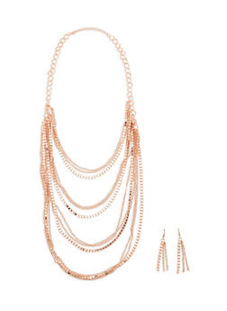 Mixed Metallic Chain and Bead Layer Necklace with Matching Earrings - 1123003207067