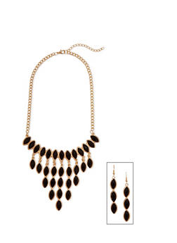 Beaded Bib Necklace with Drop Earrings Set - 1123003208022