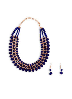 Metallic Beaded Collar Necklace with Matching Drop Earrings - 1123003208118