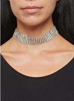 Rhinestone Choker with Stud Earrings - 1123018430202