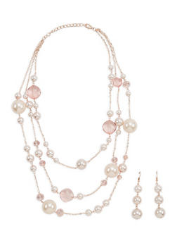 Faux Pearl Beaded Necklace and Earrings - 1123018430293