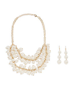 Faux Pearl Layered Necklace with Matching Earrings - 1123018430601