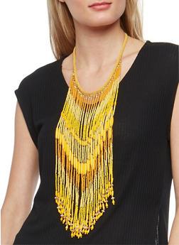Beaded Fringe Necklace - 1123018431105