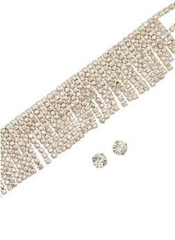 Rhinestone Fringe Choker with Stud Earrings - 1123018431313