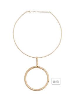 Metallic Hoop Collar Necklace with Stud Earrings - 1123018432234