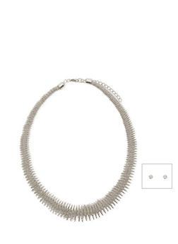 Elastic Metal Necklace with Stud Earrings Set - 1123018432297