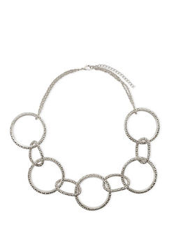 Circle Necklace with Mesh Trim - 1123018432364